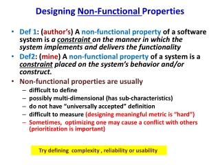 Designing  Non-Functional  Properties