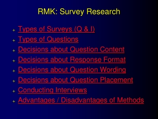 RMK:  Survey Research