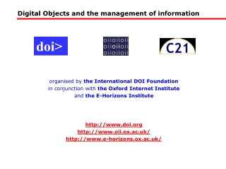 Digital Objects and the management of information