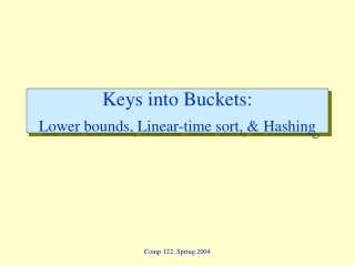 Keys into Buckets:  Lower bounds, Linear-time sort, & Hashing