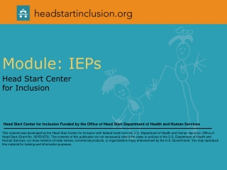 Module: IEPs  Head Start Center  for Inclusion