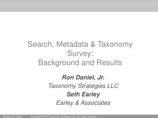 Search, Metadata & Taxonomy Survey: Background and Results