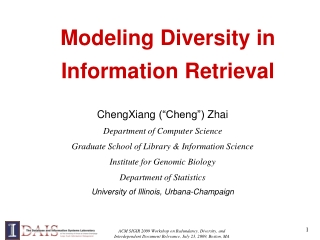 Modeling Diversity in   Information Retrieval