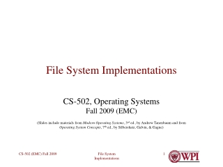 File System Implementations