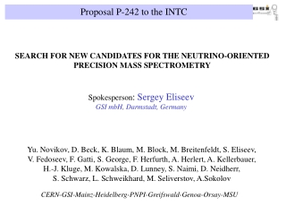 Proposal P-242 to the INTC