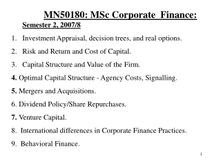 MN50180: MSc Corporate  Finance:  Semester 2, 2007/8