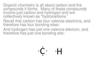 The simplest hydrocarbon would just involve one carbon and four  hydrogens :