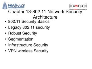 Chapter 13-802.11 Network Security Architecture