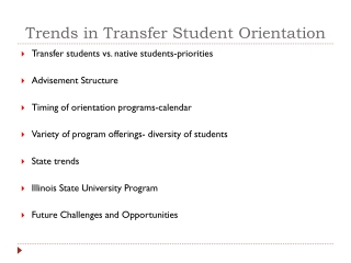 Trends in Transfer Student Orientation