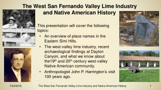 The West San Fernando Valley Lime Industry and Native American History