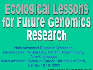 Ecological lessons for future genomics research