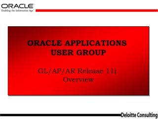 ORACLE APPLICATIONS  USER GROUP GL/AP/AR Release 11i  Overview