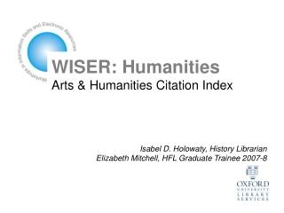 WISER: Humanities Arts & Humanities Citation Index