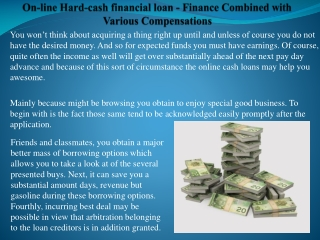 On-line Hard-cash financial loan - Finance Combined with
