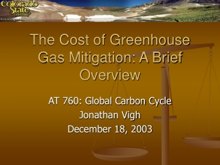 The Cost of Greenhouse Gas Mitigation: A Brief Overview