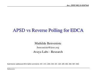 APSD vs Reverse Polling for EDCA