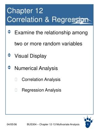 Chapter 12  Correlation & Regression