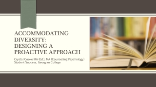 Accommodating diversity:   Designing a proactive approach
