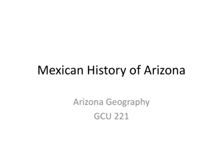Mexican History of Arizona