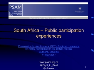 South Africa – Public participation experiences