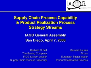 Supply Chain Process Capability & Product Realization Process Strategy Streams