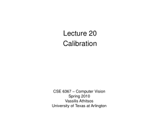Lecture 20 Calibration