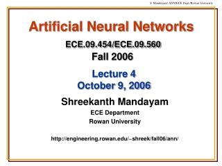 Artificial Neural Networks ECE.09.454/ECE.09.560 Fall 2006