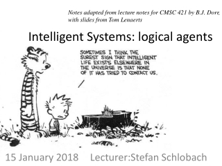 Intelligent Systems: logical agents