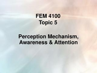 FEM 4100  Topic 5