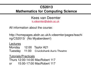 CS2013 Mathematics for Computing Science