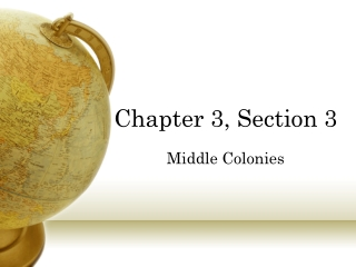 Chapter 3, Section 3 Middle Colonies
