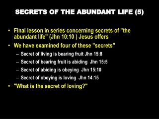 SECRETS  OF THE ABUNDANT  LIFE  (5 )