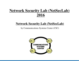 Network Security Lab (NetSecLab) ‏ 2016