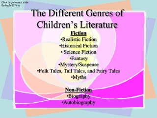 The Different Genres of Children's Literature