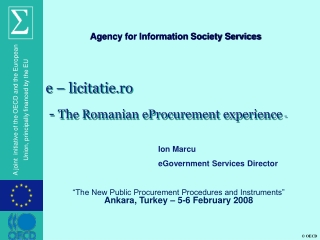 e – licitatie.ro  -  The Romanian  eProcurement  experience  -