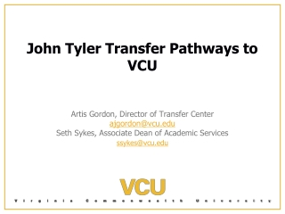John Tyler Transfer Pathways to VCU