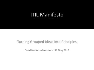 ITIL Manifesto