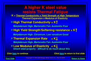 A higher K steel value resists Thermal Fatigue