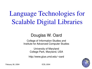 Language Technologies for Scalable Digital Libraries