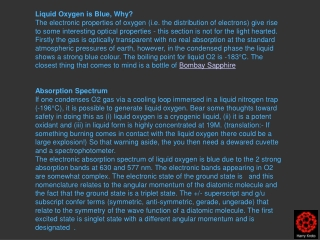 Liquid Oxygen is Blue, Why?