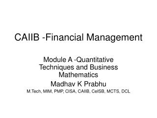 CAIIB -Financial Management