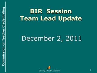 BIR  Session Team Lead Update