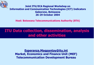 ITU Data collection, dissemination, analysis and other activities