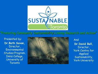 """""""Promoting Community Sustainability :Linking Research and Action"""""""