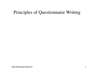 Principles of Questionnaire Writing