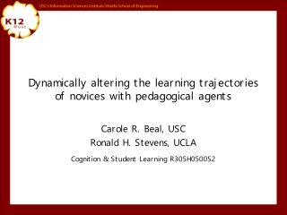 Dynamically altering the learning trajectories of novices with pedagogical agents