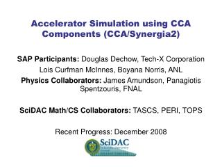 SAP Participants:  Douglas Dechow, Tech-X Corporation Lois Curfman McInnes, Boyana Norris, ANL