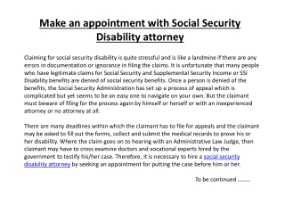 Make an appointment with Social Security Disability attorney