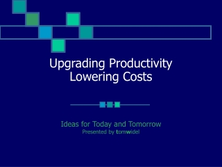 Upgrading Productivity Lowering Costs