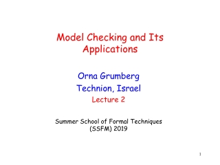 Model Checking and Its Applications